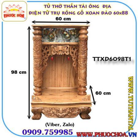 Tủ Thờ Thần Tài-Ông Địa Trụ Rồng Điện Tử Gỗ Xoan Đào 60cm x 98cm